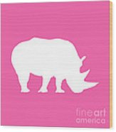 Rhino In Pink And White Wood Print