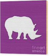 Rhino In Purple And White Wood Print