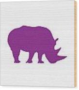 Rhino In Purple Wood Print