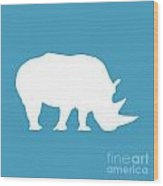 Rhino In White And Turquoise Blue Wood Print