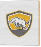 Rhinoceros Charging Side Shield Retro Wood Print by Aloysius Patrimonio