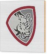 Rhinoceros Head Side Shield Wood Print by Aloysius Patrimonio