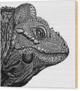 Rhinoceros Iguana Wood Print