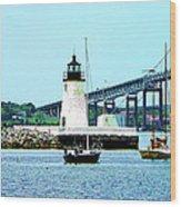 Rhode Island - Lighthouse Bridge And Boats Newport Ri Wood Print