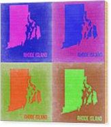 Rhode Island Pop Art Map 2 Wood Print