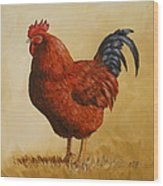 Rhode Island Red Rooster Wood Print