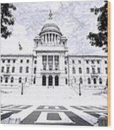 Rhode Island State House Bw Wood Print