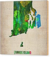 Rhode Island Watercolor Map Wood Print by Naxart Studio