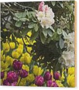 Rhodies And Tulips Wood Print