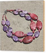 Rhodonite And Crazy Lace Agate Double Strand Chunky Necklace 3636 Wood Print