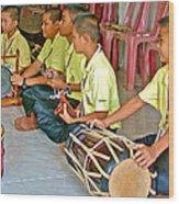 Rhythm Section In Traditional Thai Music Class  At Baan Konn Soong School In Sukhothai-thailand Wood Print