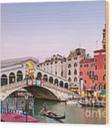 Rialto Bridge At Sunset - Venice Wood Print