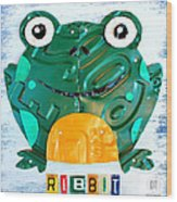 Ribbit The Frog License Plate Art Wood Print
