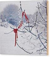 Ribbon In Tree Wood Print