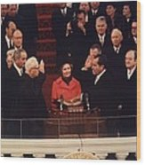 Richard Nixon Taking The Oath Of Office Wood Print