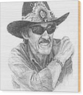 Richard Petty Pencil Portrait Wood Print