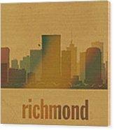 Richmond Virginia City Skyline Watercolor On Parchment Wood Print
