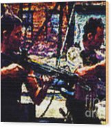 Rick And Daryl Clearing The Courtyard Wood Print