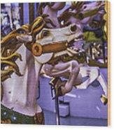 Ride The Wild Carrousel Horses Wood Print