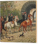 Riders At Uppsala Castle Wood Print