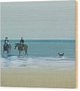 Riders On The Beach Wood Print