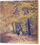 Riding A Bike In Autumn Wood Print