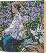 Riding Bycicle For Lilac Wood Print
