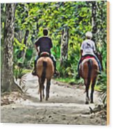 Riding In The Woods Wood Print