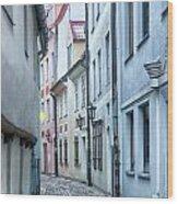 Riga Narrow Street Wood Print