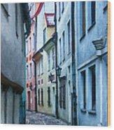Riga Narrow Street Painting Wood Print
