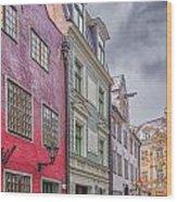 Riga Street Wood Print