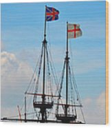 Rigging And Flags Wood Print