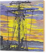Rigging In The Sunset Wood Print