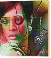 Rihanna Over Rihanna Wood Print