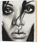 Rihanna Wood Print by Rosalinda Markle