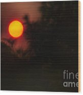 Ring Of Fire - Eerie Bushfire Sunset Wood Print