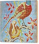 Ringneck Pheasants Wood Print