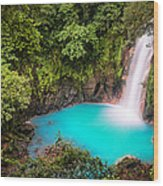 Rio Celeste Waterfall Wood Print by Andres Leon