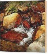 Rio En Medio Boulder Falls Wood Print