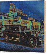Rio Grande Homage 1950  Gas Station And Vehicle C.1935 Wood Print