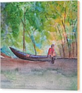 Rio Negro Canoe Wood Print