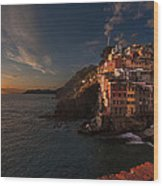 Riomaggiore Peaceful Sunset Wood Print by Mike Reid