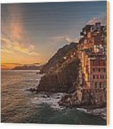 Riomaggiore Rolling Waves Wood Print by Mike Reid