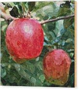 Ripe Red Apples On Tree Wood Print