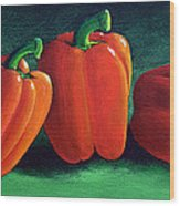 Ripe Red Peppers Wood Print