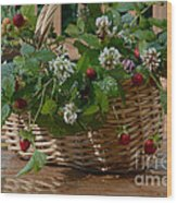 Wild Strawberries And White Clover Wood Print
