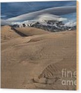 Ripples Dunes And Clouds Wood Print
