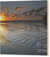Ripples On The Beach Wood Print