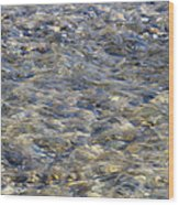 Rippling Water Over Rocks Wood Print
