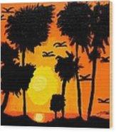 Rising Glow At Sunset Wood Print